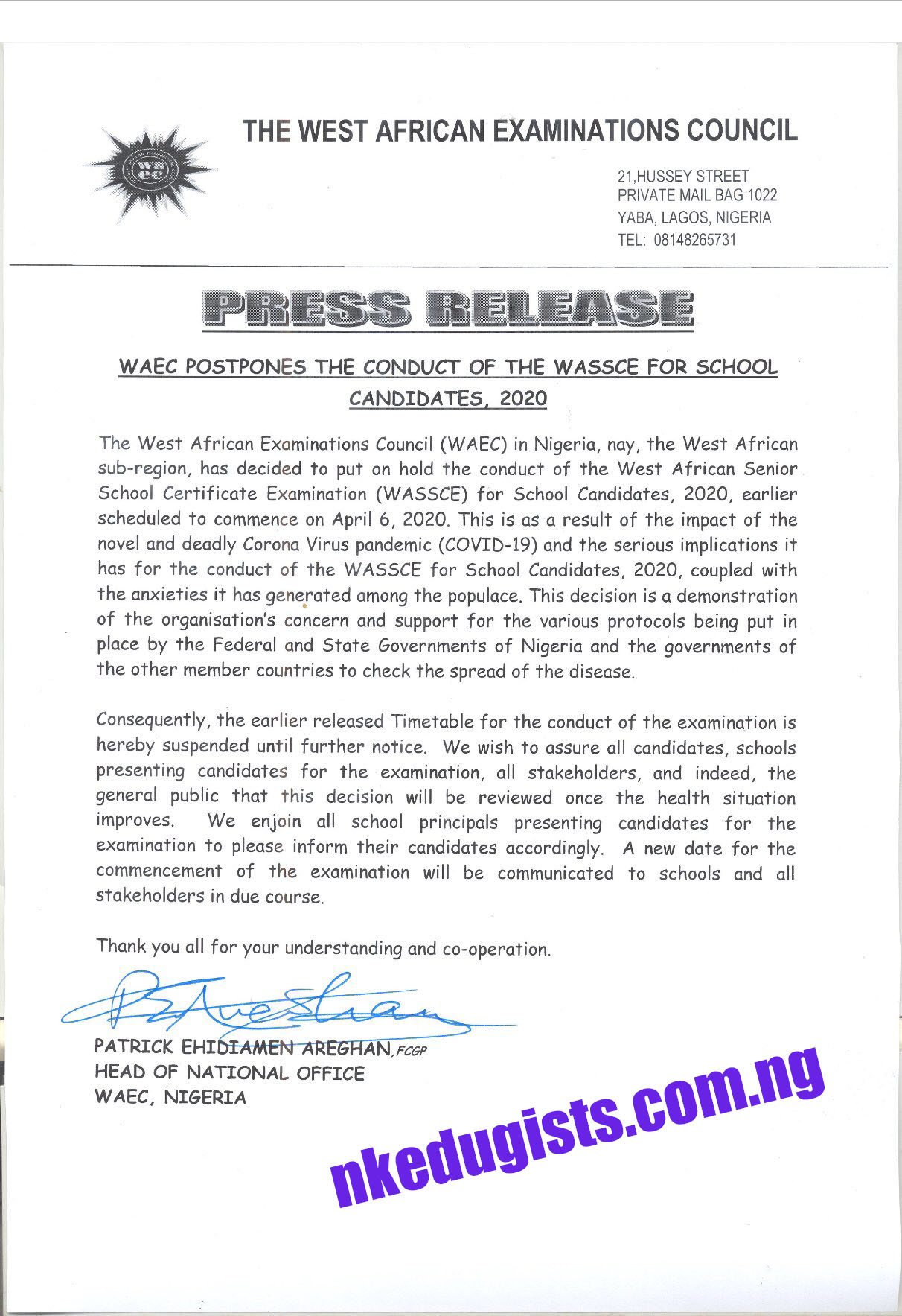 Breaking News on Waec postponement