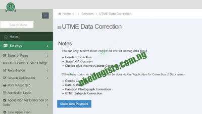 Utme data correction