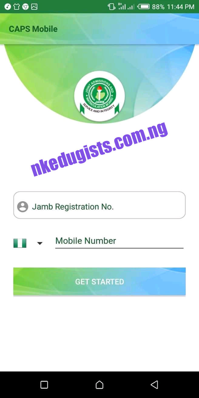 Jamb Caps Mobile App Registration