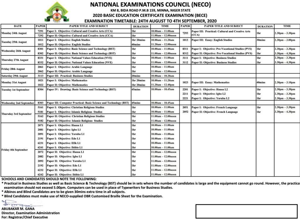 Junior WAEC Timetable