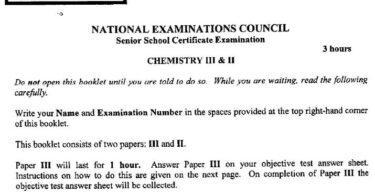 2020 Neco Chemistry practical specimen questions