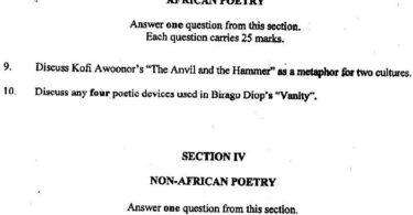 2020 Neco Literature in English Questions