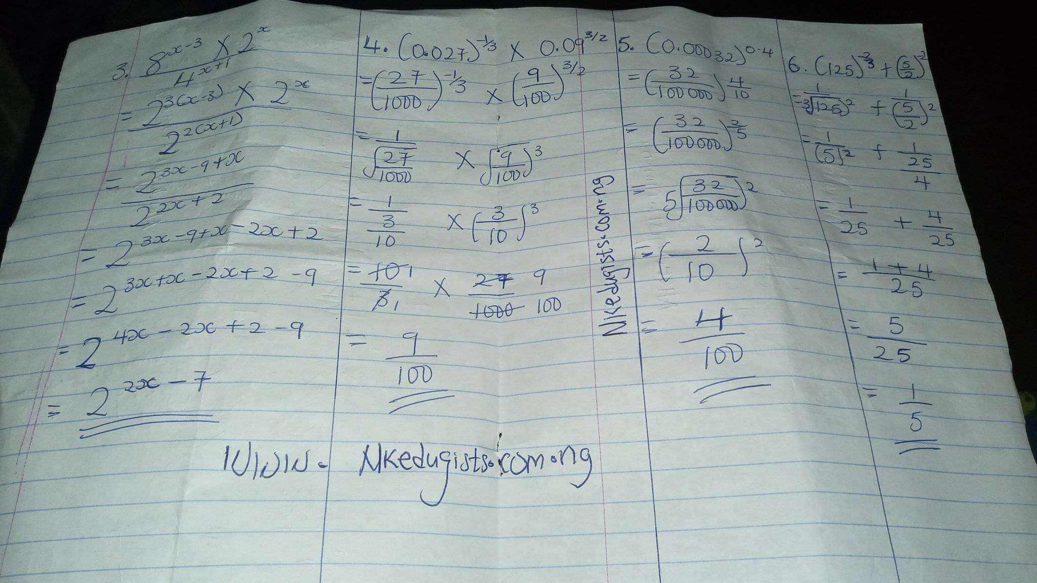 How to solve Indices with Equation