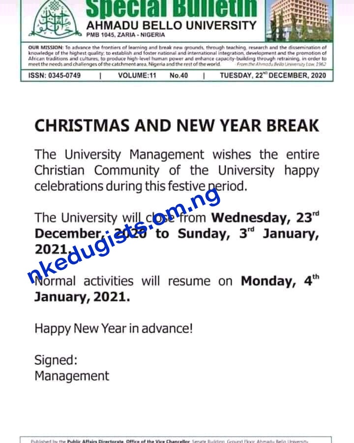 Resumption Date for Ahmad Bello University