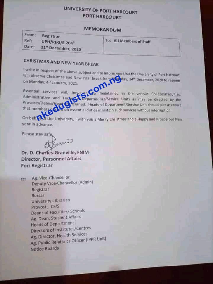 Resumption date for Uniport