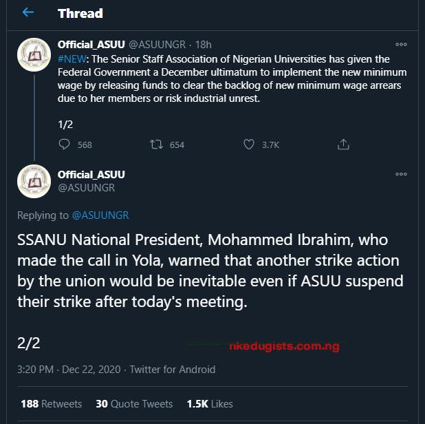 is asuu strike called off 2020