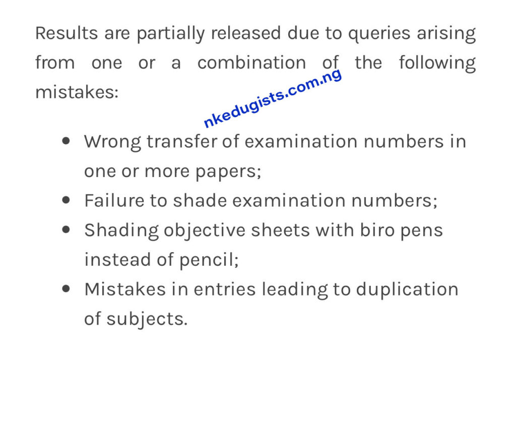 what does outstanding mean in waec