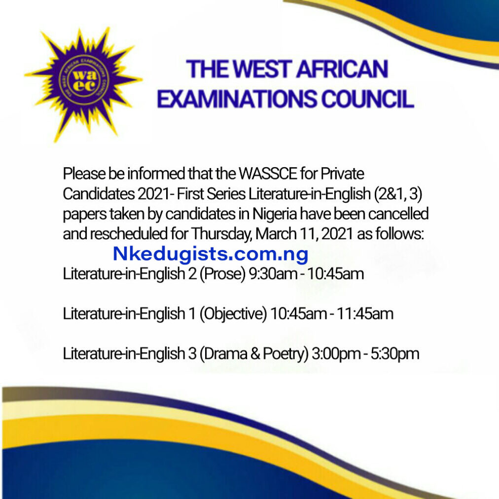 rescheduled date for Literature in English GCE Exam